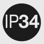 IP 34: (3) - защита от проникновения посторонних предметов диаметром ≥ 2,5 мм; (4) - защита от водяных брызг.