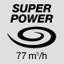 Супермощный воздушный поток 77 м3 / ч