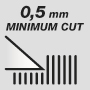 Minimum cutting lenght 0.5 mm