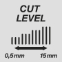 Cutting lengths from 0.5 mm to 15 mm