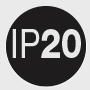 IP 20: Protection (2) against ingress of foreign solid objects ≥ 12,5 mm Ø; (0) non-protected against ingress of water