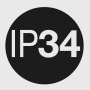 IP 34: Protection (3) against ingress of foreign solid objects ≥ 2,5 mm Ø; (4) against water splashing.