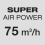 Super powerful air flow 75 m3/h