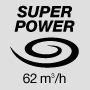 Super powerful air flow 62 m3/h